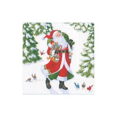 Caspari Caspari Cocktail Napkin - Woodland Santa