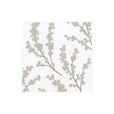 Caspari Caspari Cocktail Napkin - Berry Branches White / Silver