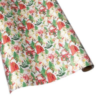 Caspari Caspari Wrapping Paper - Lynn Haney Santa Silver Foil - 8 Ft Roll
