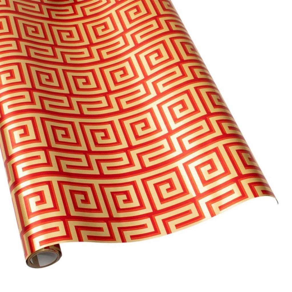 Caspari Caspari Wrapping Paper - Greek Meander Red / Gold Foil - 8 Ft Roll