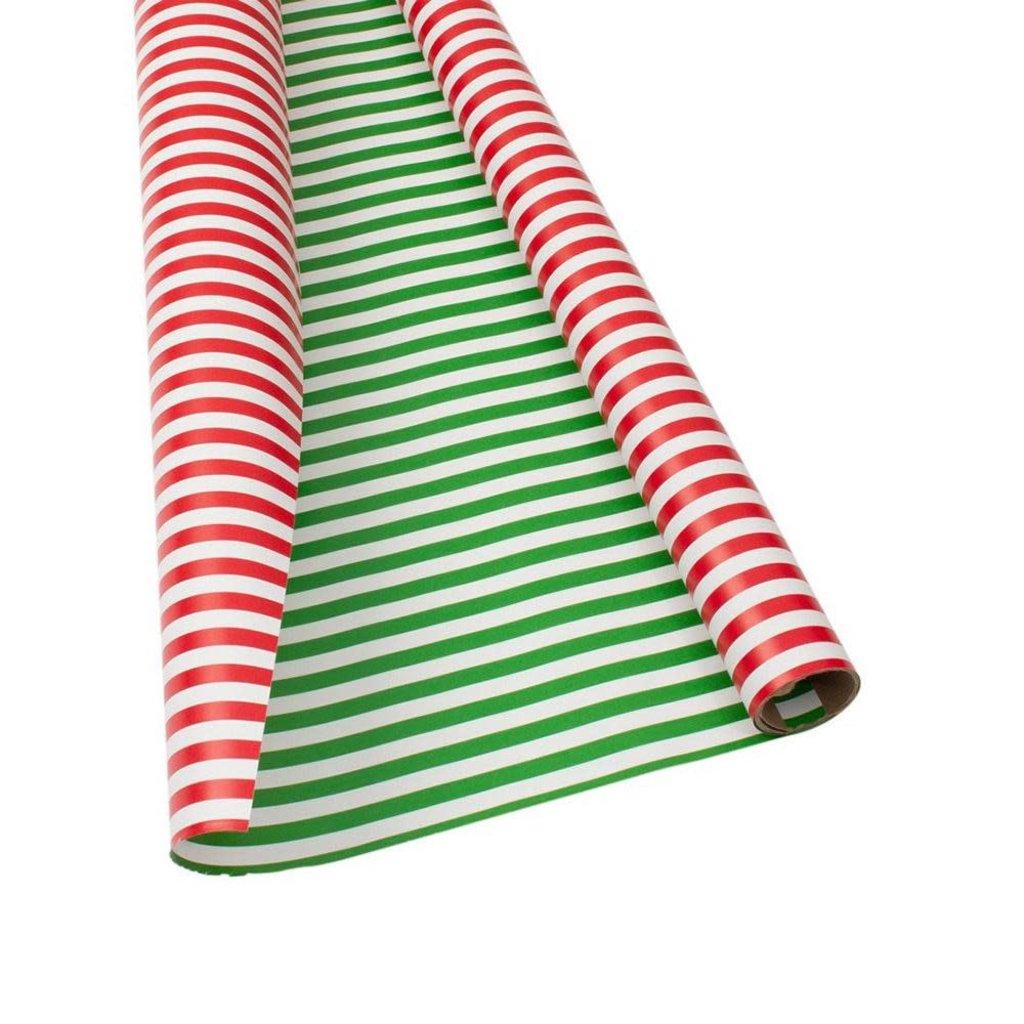 Caspari Caspari Wrapping Paper - Club Stripe Red / Green Reversible - 8 Ft Roll