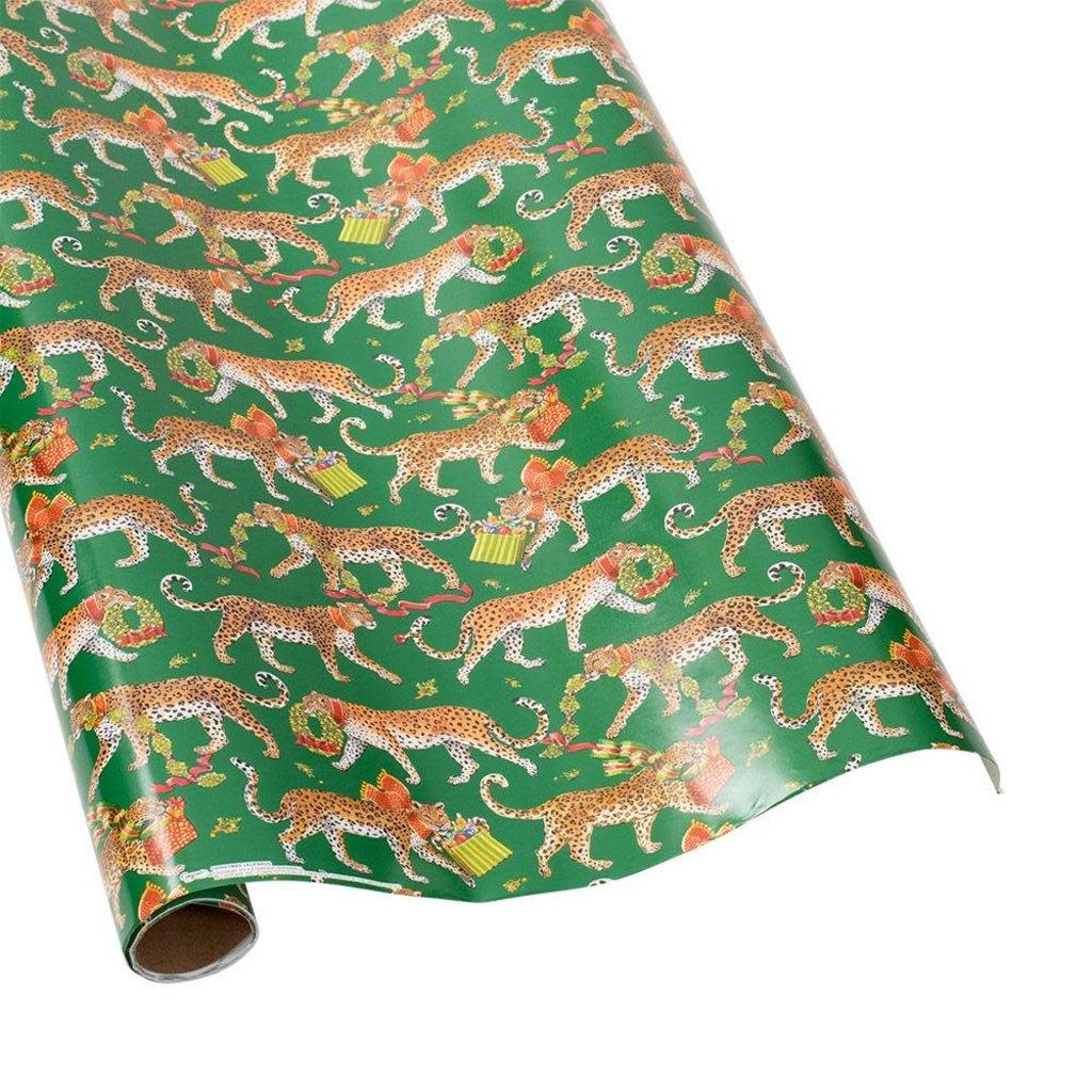 Caspari Caspari Wrapping Paper - Christmas Leopards Dark Green - 8 Ft Roll