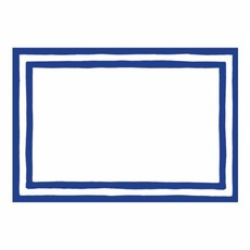 Caspari Caspari Place Cards - Stripe Border Blue Foil