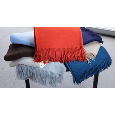 "A Soft Idea A Soft Idea Throw, Marle Ocean Blue - Baby Alpaca with Fringe 50""x78"""