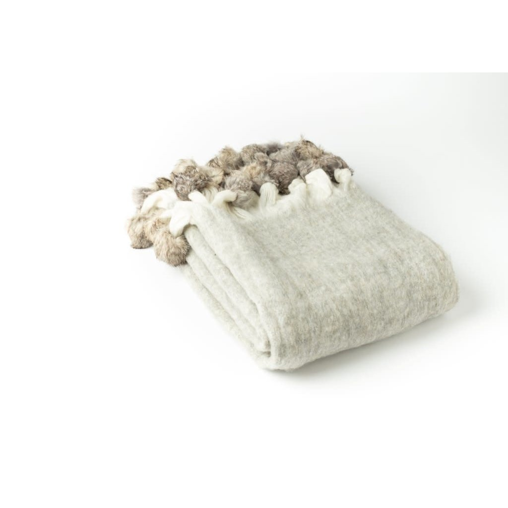 A Soft Idea A Soft Idea Throw, Grey - Mohair Blend  w/ Fur Pom Poms