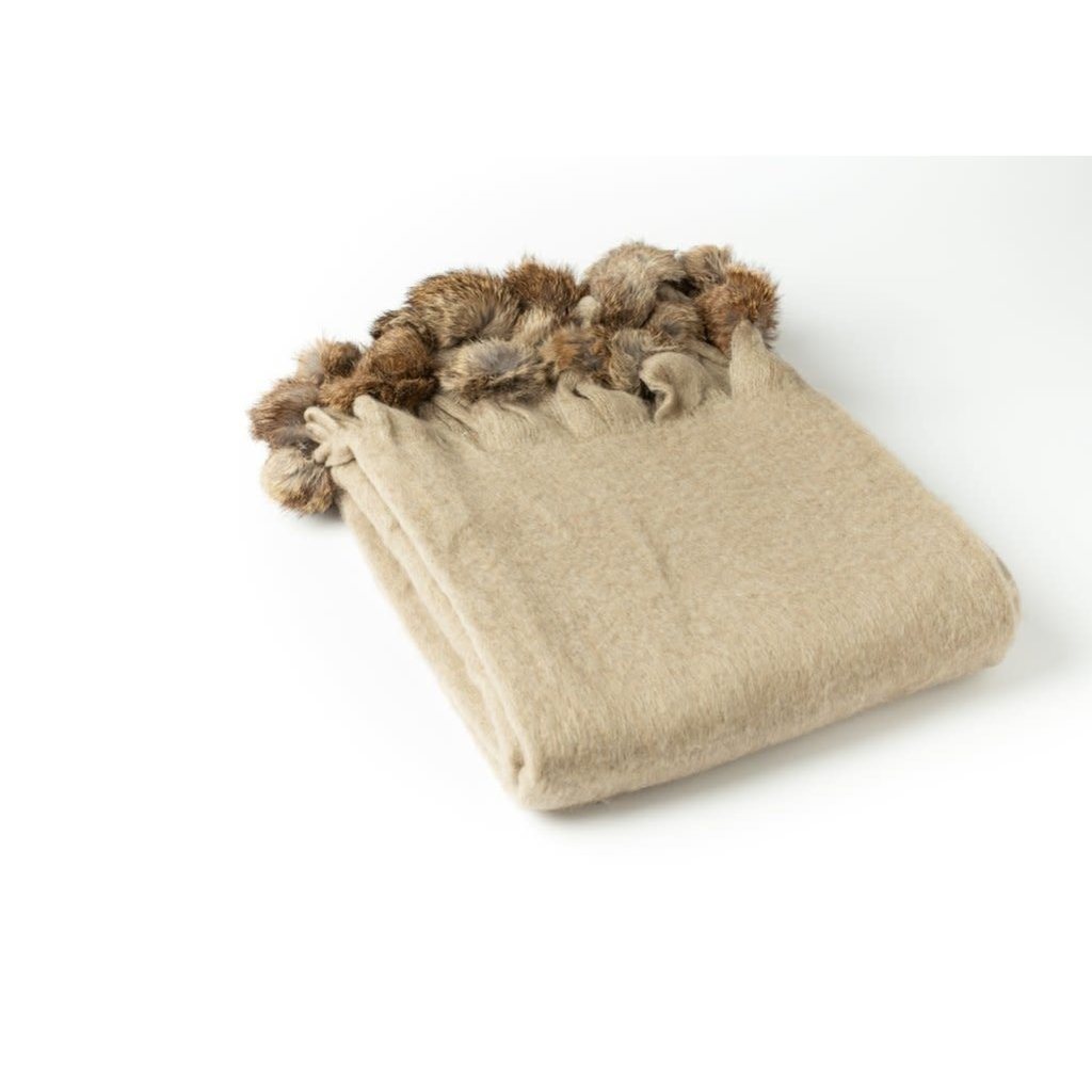 A Soft Idea A Soft Idea Throw, Beige - Mohair Blend  w/ Fur Pom Poms
