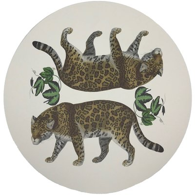 "Nicolette Mayer Nicolette Mayer Placemat - Leopard Seeing Double 16"" Round Pebble"