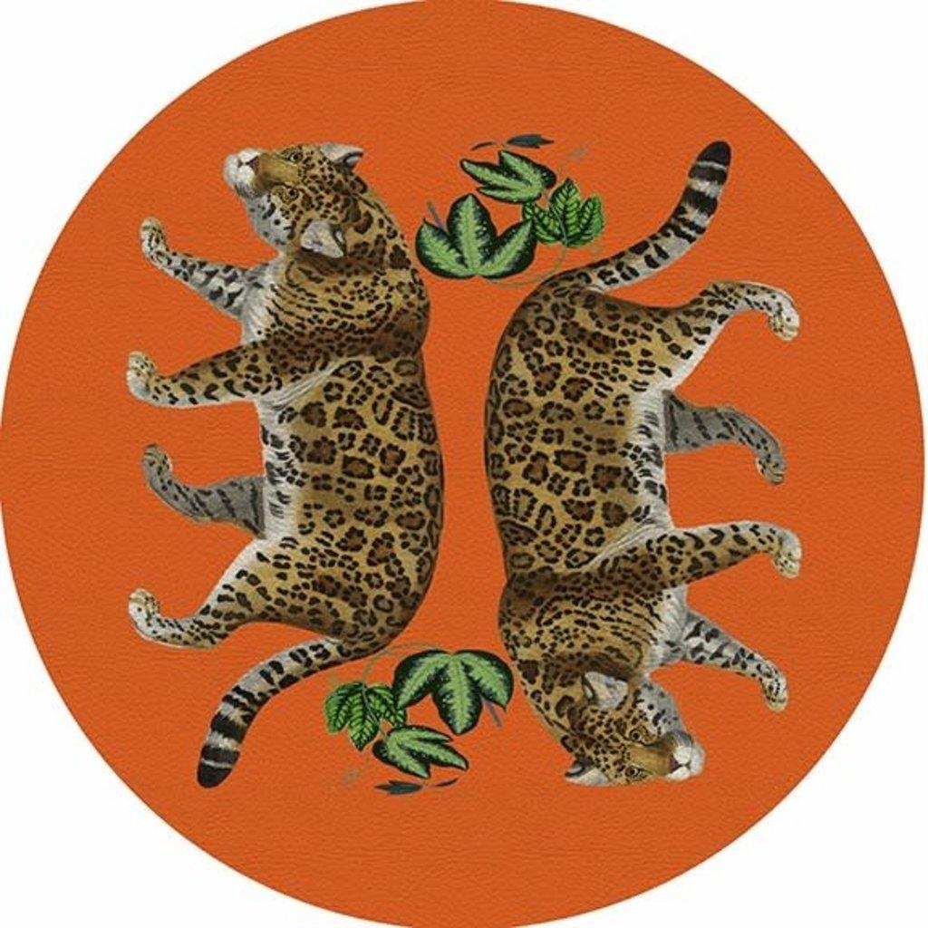 "Nicolette Mayer Nicolette Mayer Placemat - Leopard Seeing Double Orange 16"" Round Pebble"