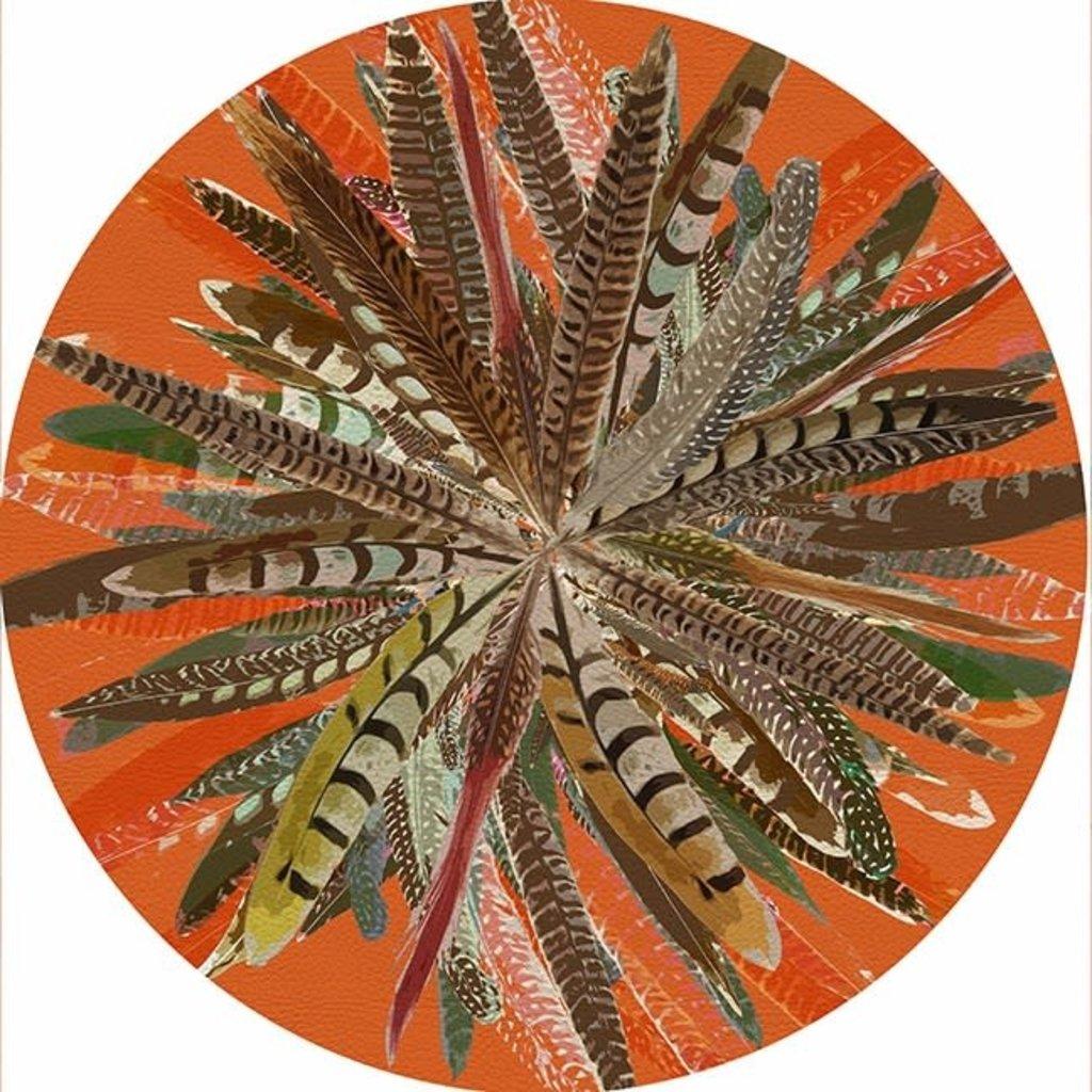 "Nicolette Mayer Nicolette Mayer Placemat - Pheasant Feathers Orange 16"" Round Pebble"