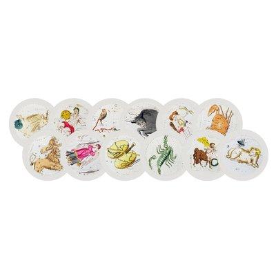 "Nicolette Mayer Nicolette Mayer Placemat - Zodiac White Set of 12 16"" Round Pebble"