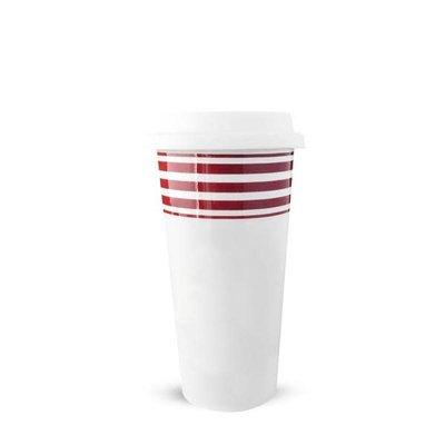 Caskata Caskata Beach Towel Stripe 14oz Red Travel Mug with Lid
