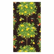 Caspari Caspari Guest Towel -Citrus Topiaries Black