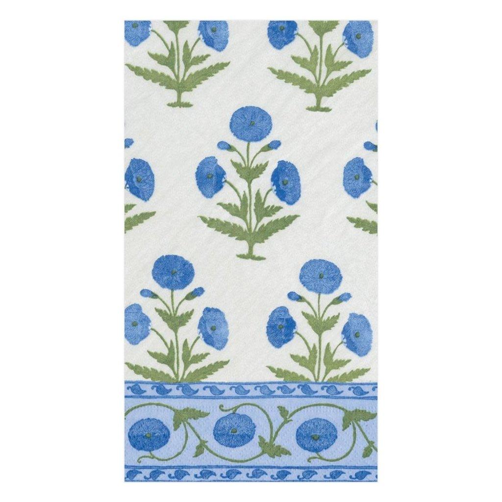 Caspari Caspari Guest Towel -Indian Poppy Blue