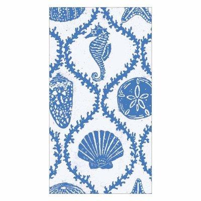 Caspari Caspari Guest Towel -Seychelles Blue