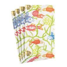 Caspari Caspari Guest Towel -Tropical Reef
