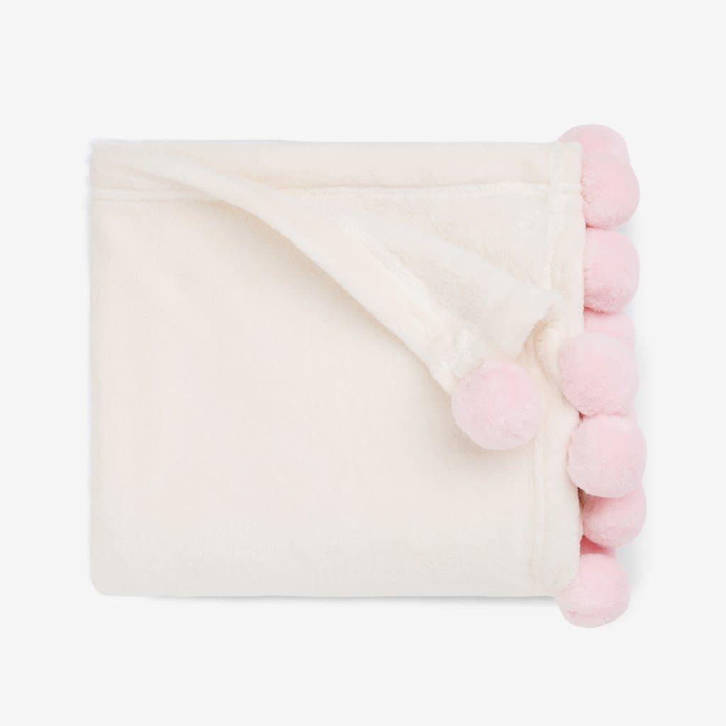ELEGANT BABY pink Pom Trim Fleece Baby Stroller Blanket