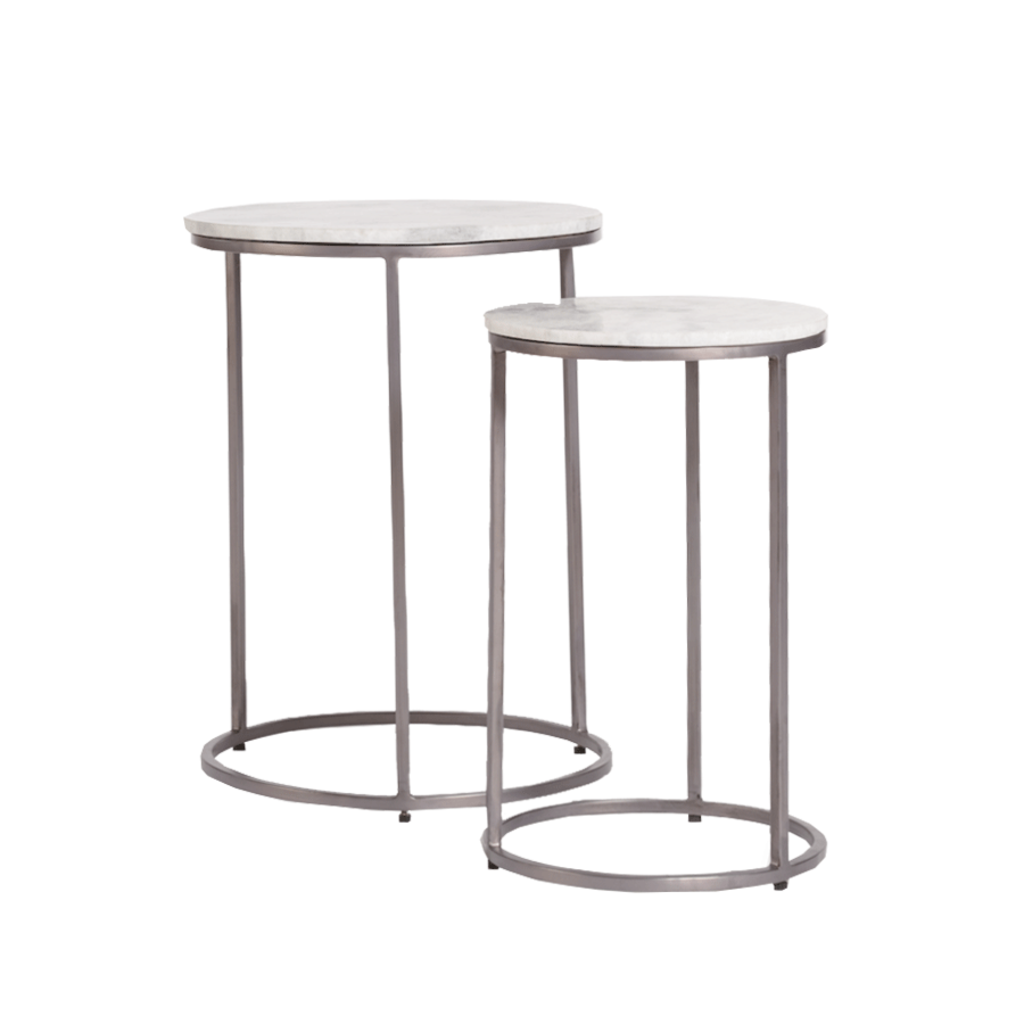 Alder & Tweed Alder & Tweed Abbey Nesting tables in cloud marble and burnished riviera