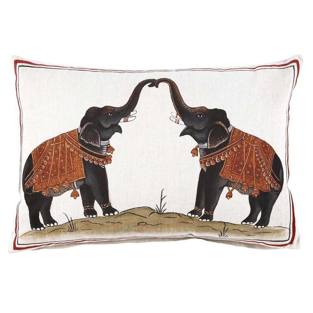 John Robshaw Textiles John Robshaw Two Elephants Decorative Pillow - insert not included