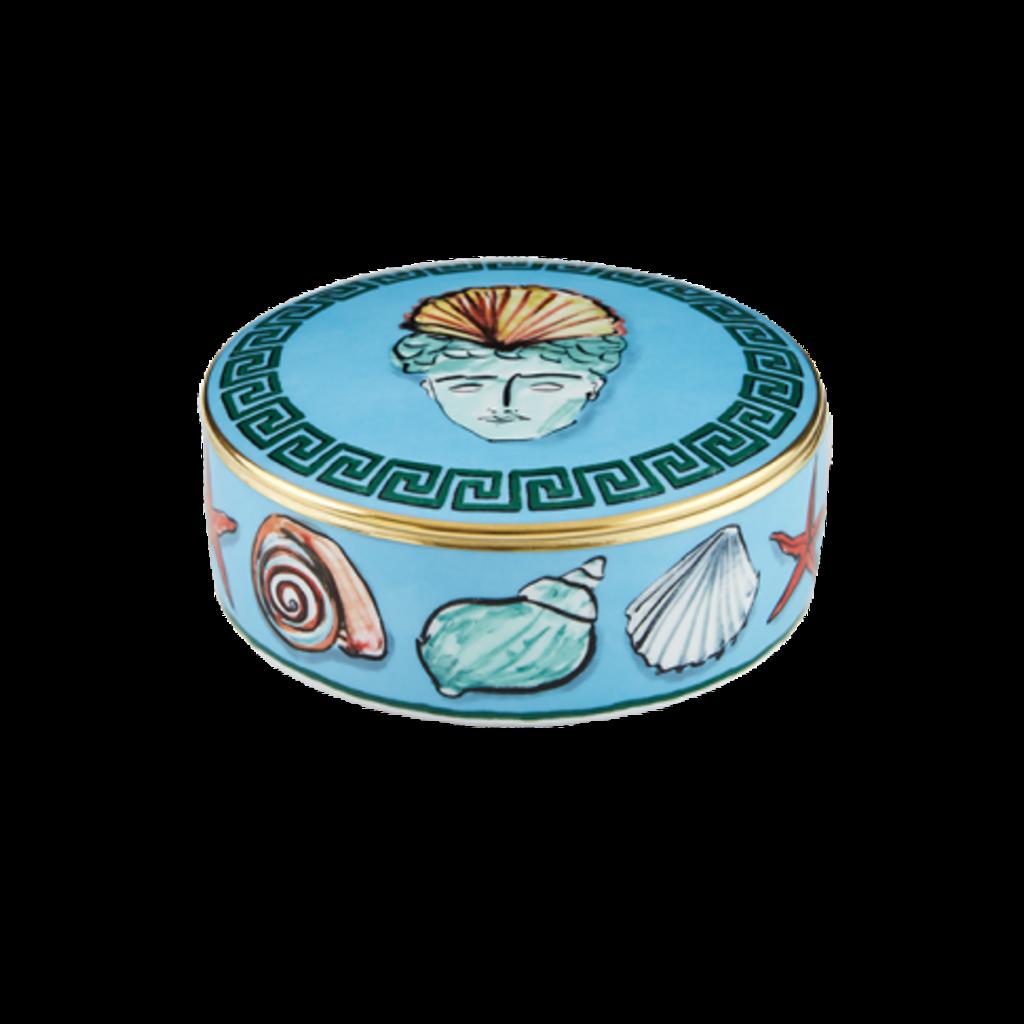 """Richard Ginori Ginori 1735 Il Viaggio Di Netunno Sea Blue Round Box 13cm, 5.1"""""""