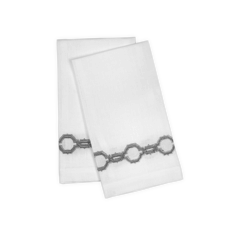 Matouk Matouk Marrakech Guest Towel Pair, on Linen Silver
