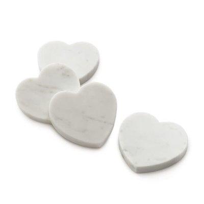 Simon Pearce Simon Pearce White Marble Heart Coasters - set of 4