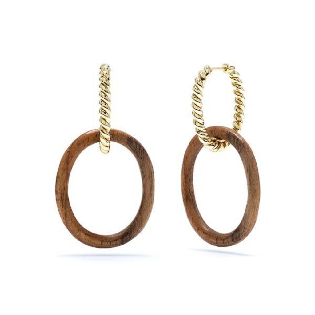 Capucine De Wulf Golden Lasso Teak Link Earrings