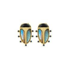 Capucine De Wulf Scarab Night Stud Earrings Blue Labradorite/Black Agate