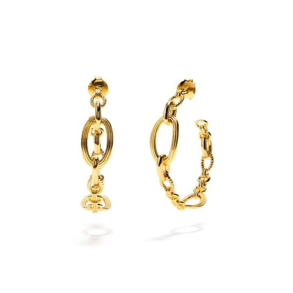 Capucine De Wulf Monique Gold Chain Hoop Earrings