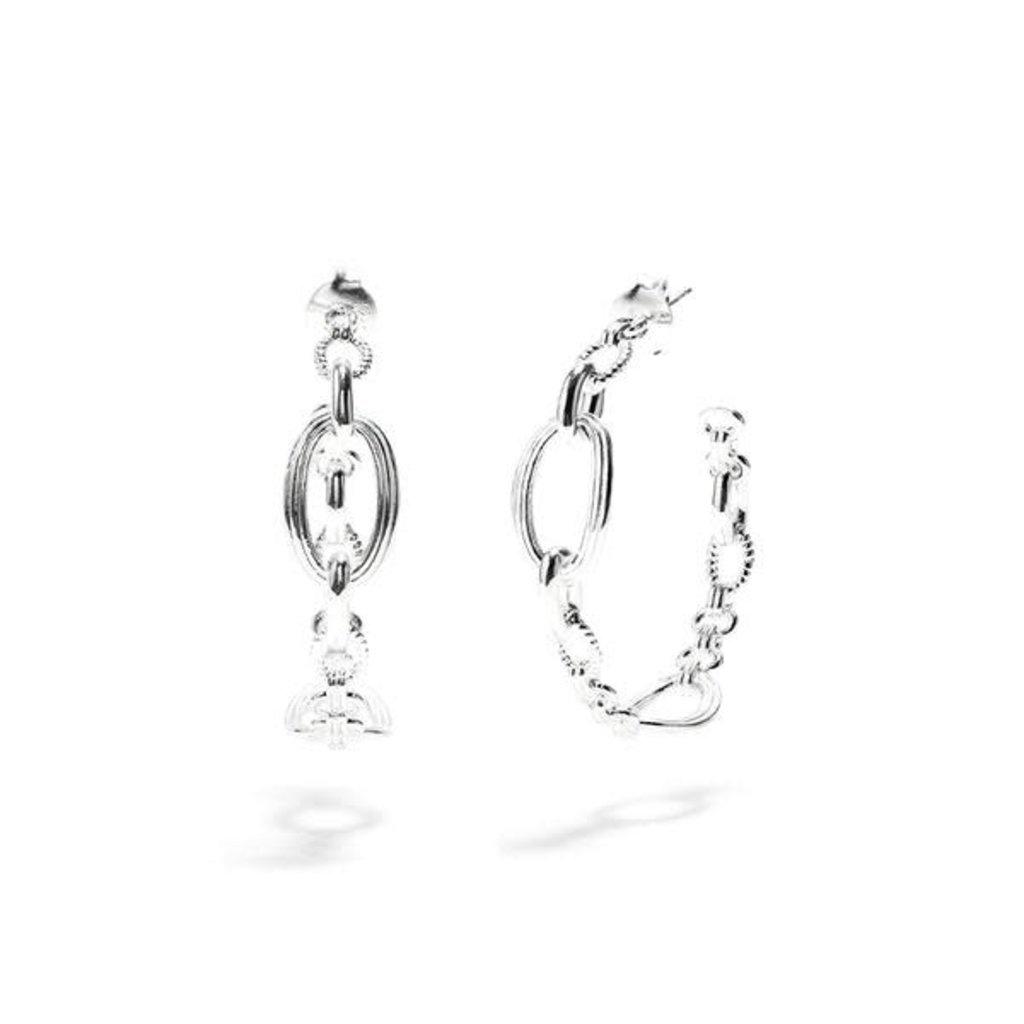 Capucine De Wulf Monique Silver Chain Hoop Earrings