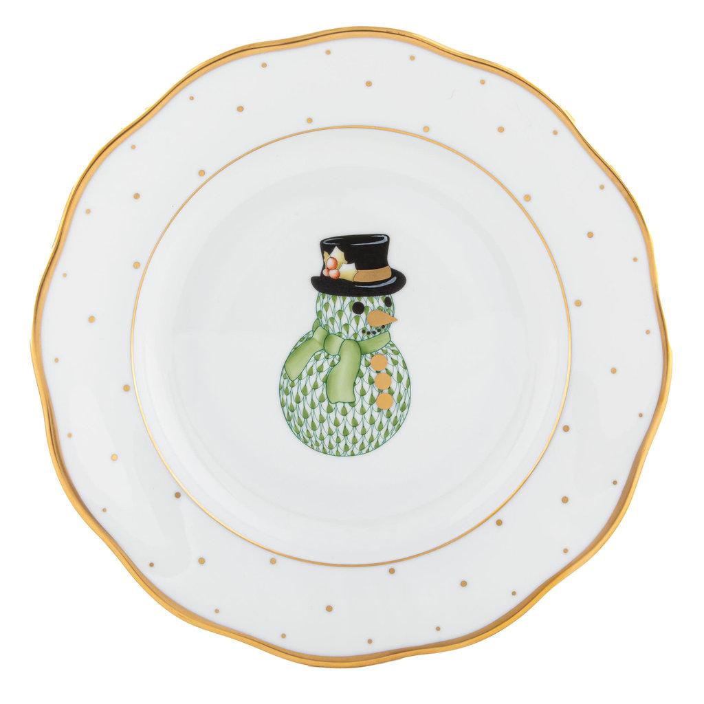 Herend Christmas Dessert Plate Snowman