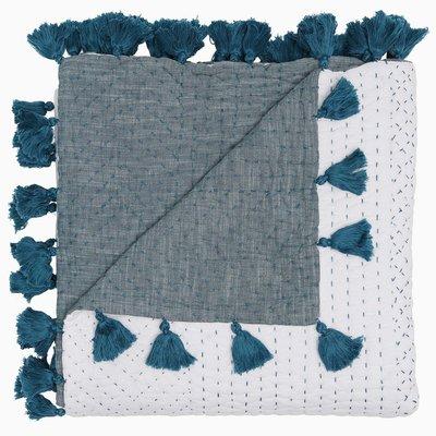 John Robshaw Textiles John Robshaw Sahati Peacock Hand Stitched Throw 50 x 70