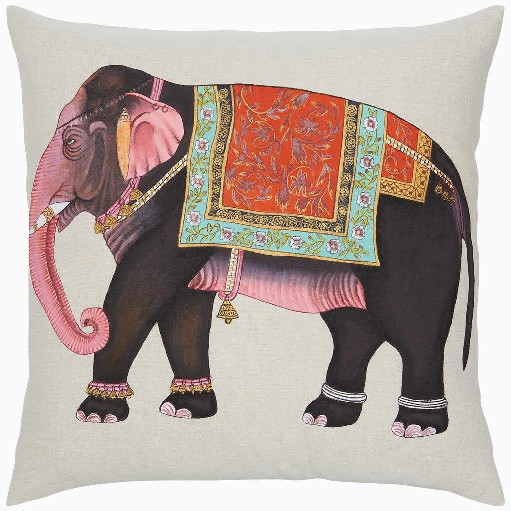 John Robshaw Textiles John Robshaw Moody Elephant Decorative Pillow 22 x22