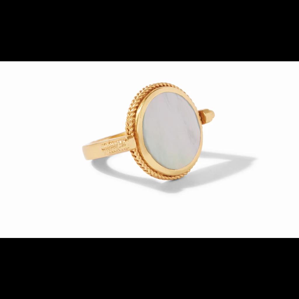 Julie Vos Julie Vos Coin Revolving Ring Gold Mother of Pearl - Size 7