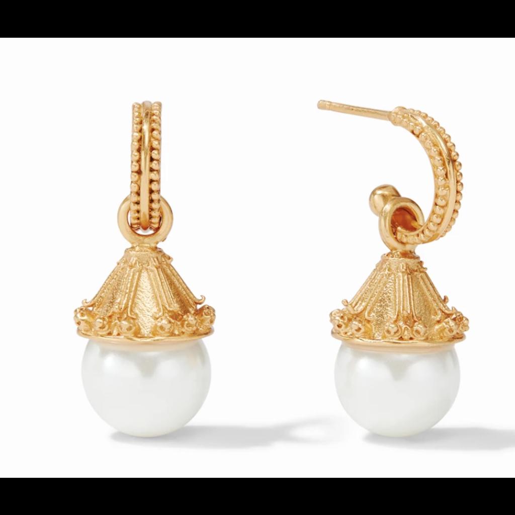 Julie Vos Julie Vos Meridian Pearl Hoop and Charm Earring Gold