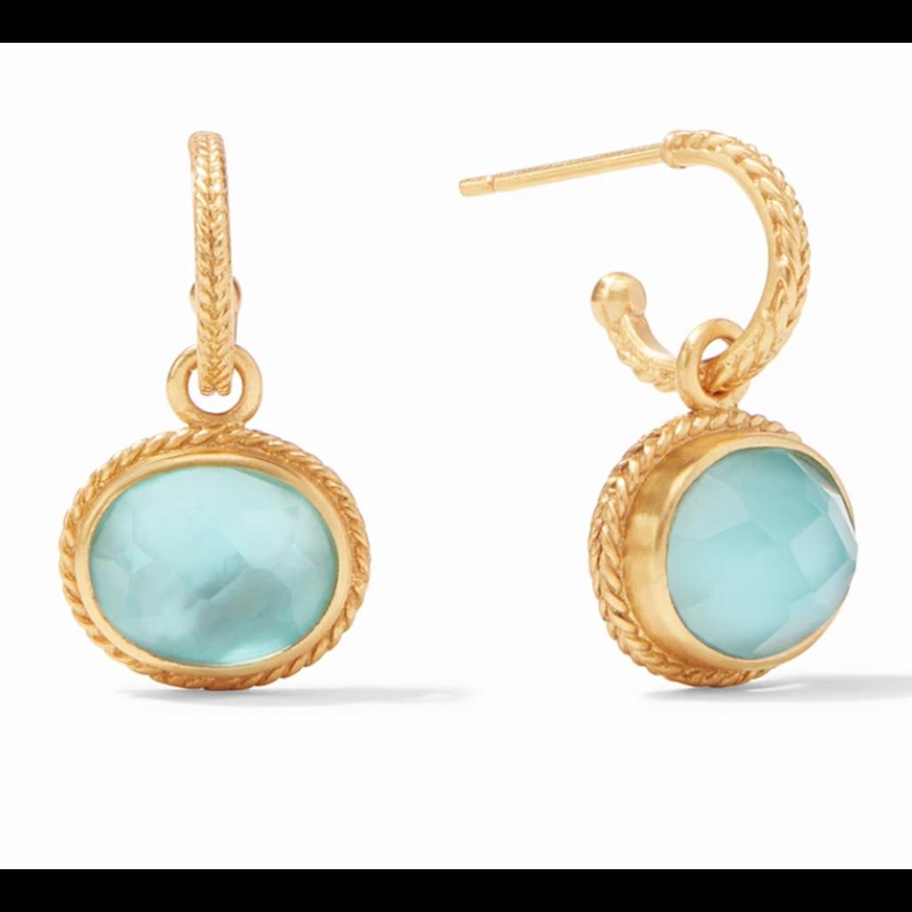 Julie Vos Julie Vos Calypso Hoop & Charm Earrings - Iridescent Bahamian Blue