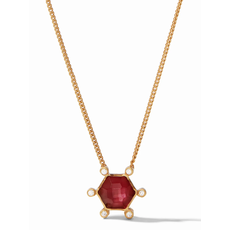 Julie Vos Julie Vos Cosmo Solitaire Necklace Gold Iridescent Ruby Red