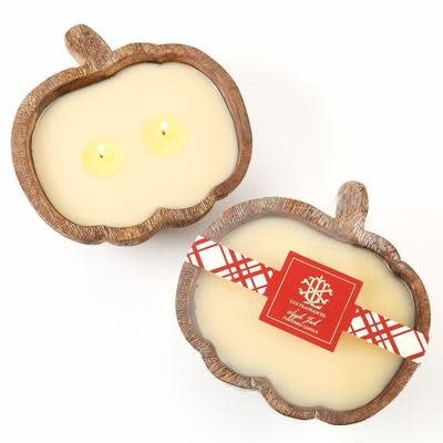 Lux Fragrances Lux Fragrances Apple Jack 2 Wick Candle in a Wooden Pumpkin Bowl