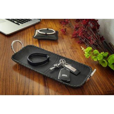 "Mary Jurek Mary Jurek Durango Black Leather Rect Tray w/ Ring Handles 5"" x 14"""