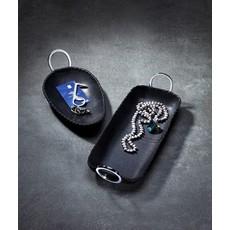 "Mary Jurek Mary Jurek Durango Black Leather Oval Tray w/ Ring Handle 6"" x 9"""