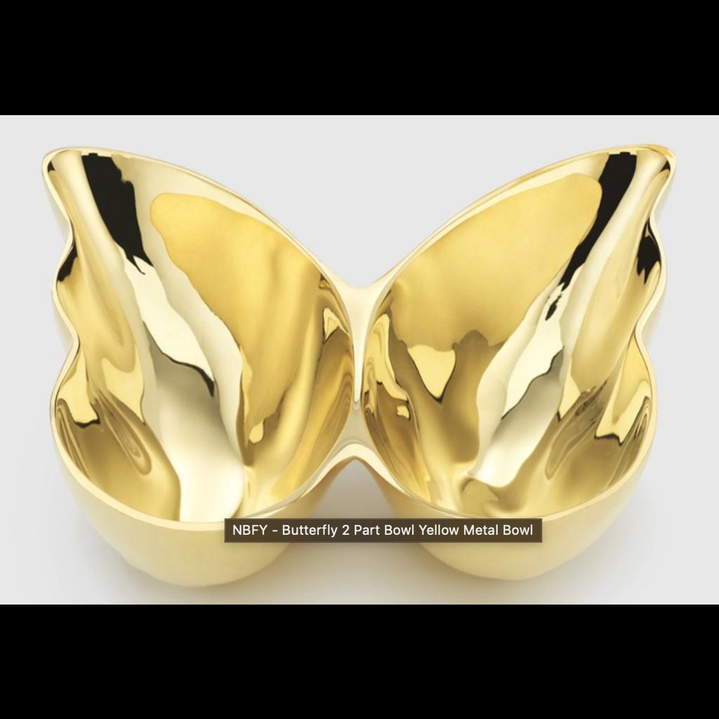 "Mary Jurek Mary Jurek Butterfly Two Part Bowl Yellow Metal 7 1/2"" x 7 1/2"" x 2"""