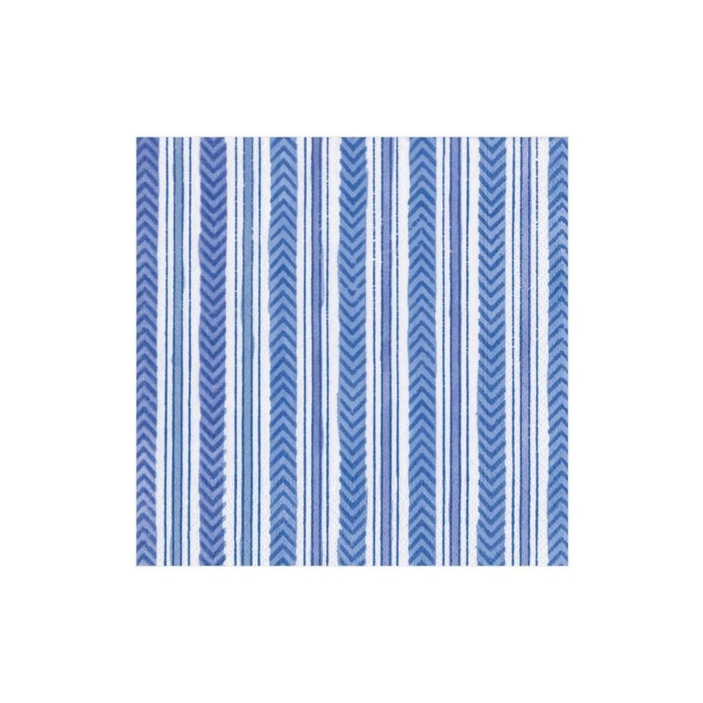 Caspari CASPARI CARMEN STRIPE BLUE - NAPKIN COCKTAIL