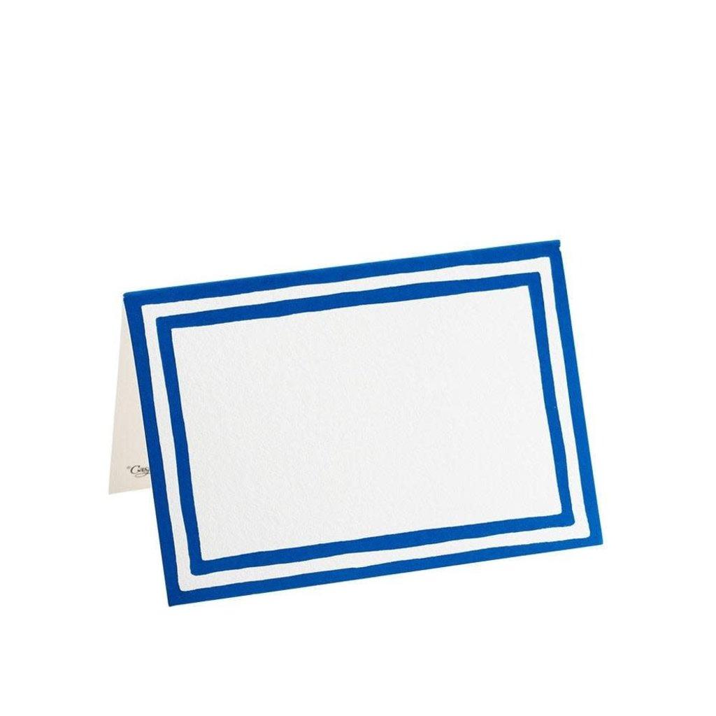 Caspari Caspari Place Cards - Stripe Border Blue Foil