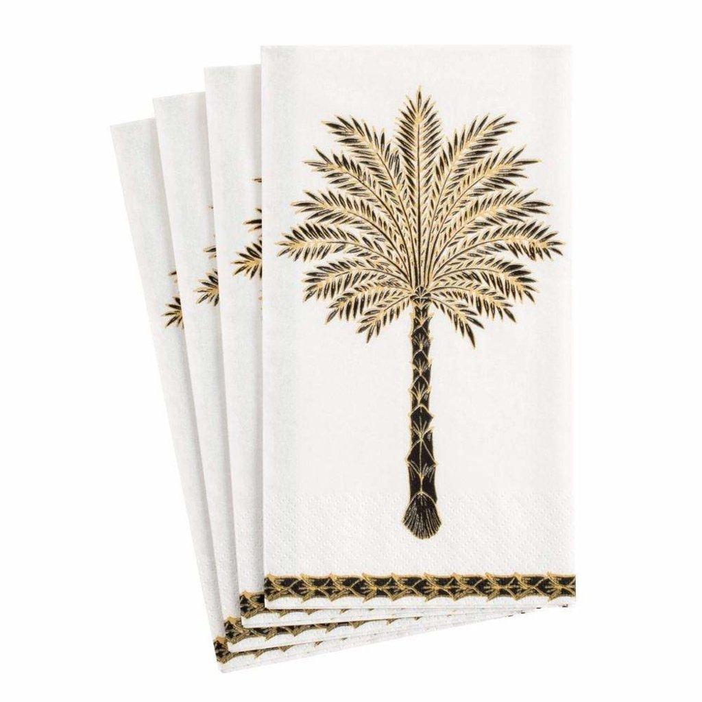 Caspari CASPARI GRAND PALMS BLACK - GUEST TOWEL