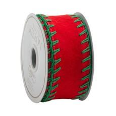 Caspari Caspari Ribbon - Red Felt with Green Stitch - 4 yards
