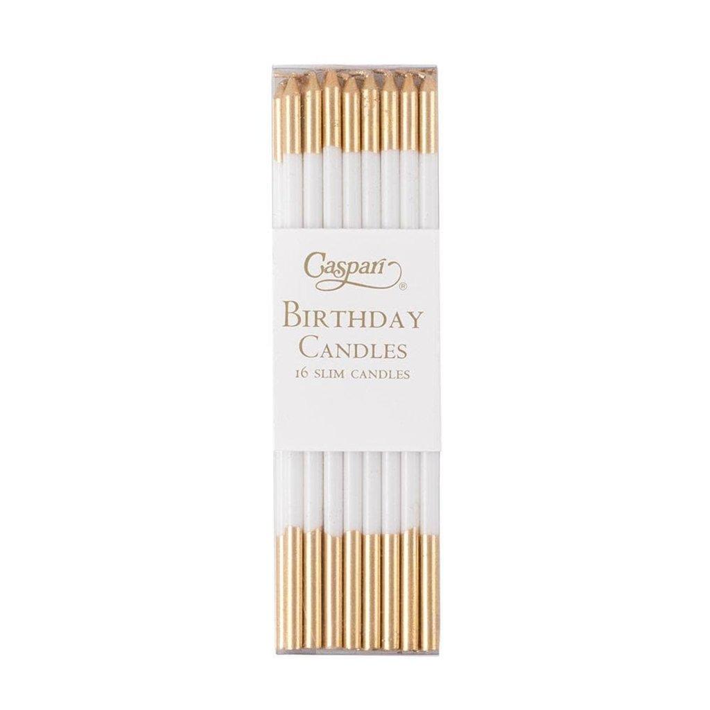 Caspari CASPARI SLIMS BIRTHDAY CANDLES-WHITE/GOLD