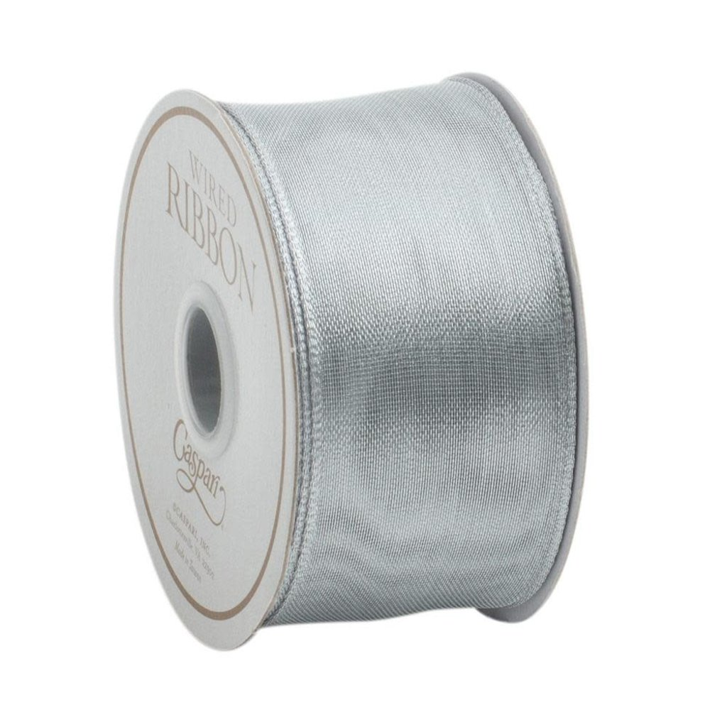 Caspari Caspari Ribbon Wired, Sheer Silver - 9 yards