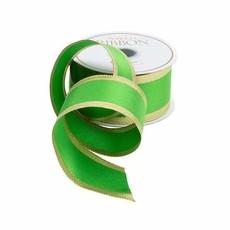 Caspari CASPARI SOLID GREEN AND GOLD RIBBON -9 YDS (WIRED)