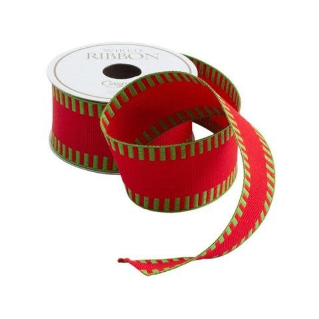 Caspari Caspari Ribbon - Red with Green Striped Border - 6 yards