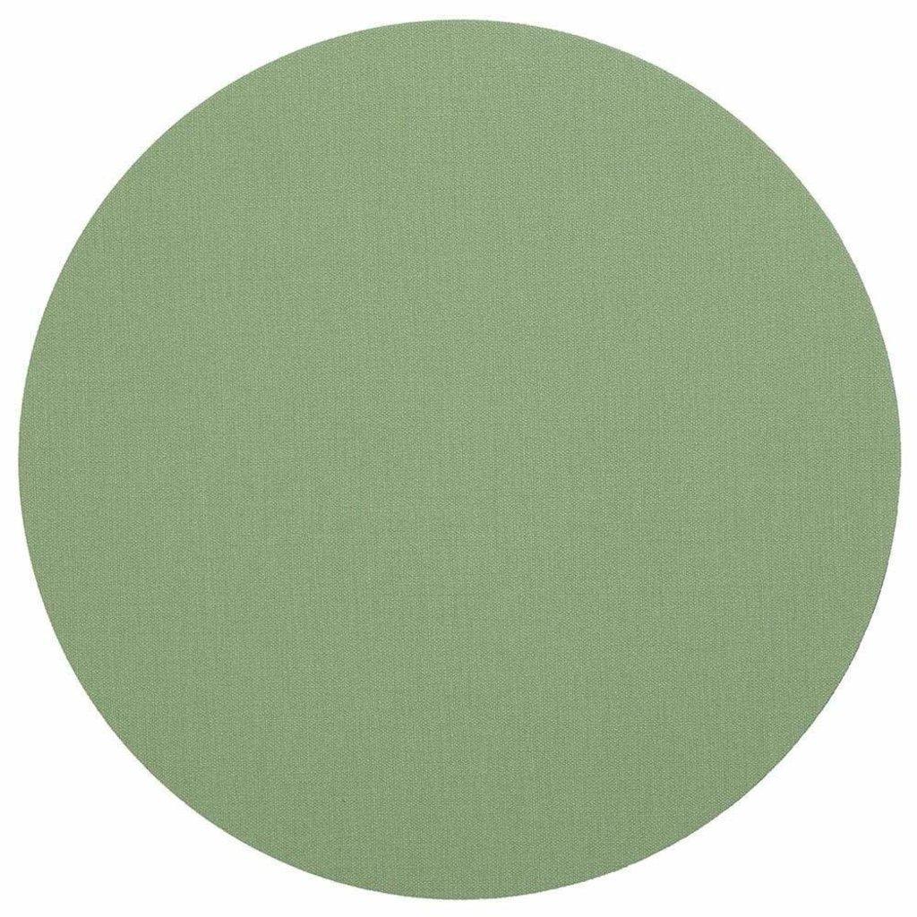 Caspari CASPARI CLASSIC CANVAS MOSS GREEN - COASTER ROUND 8 IN-FELT