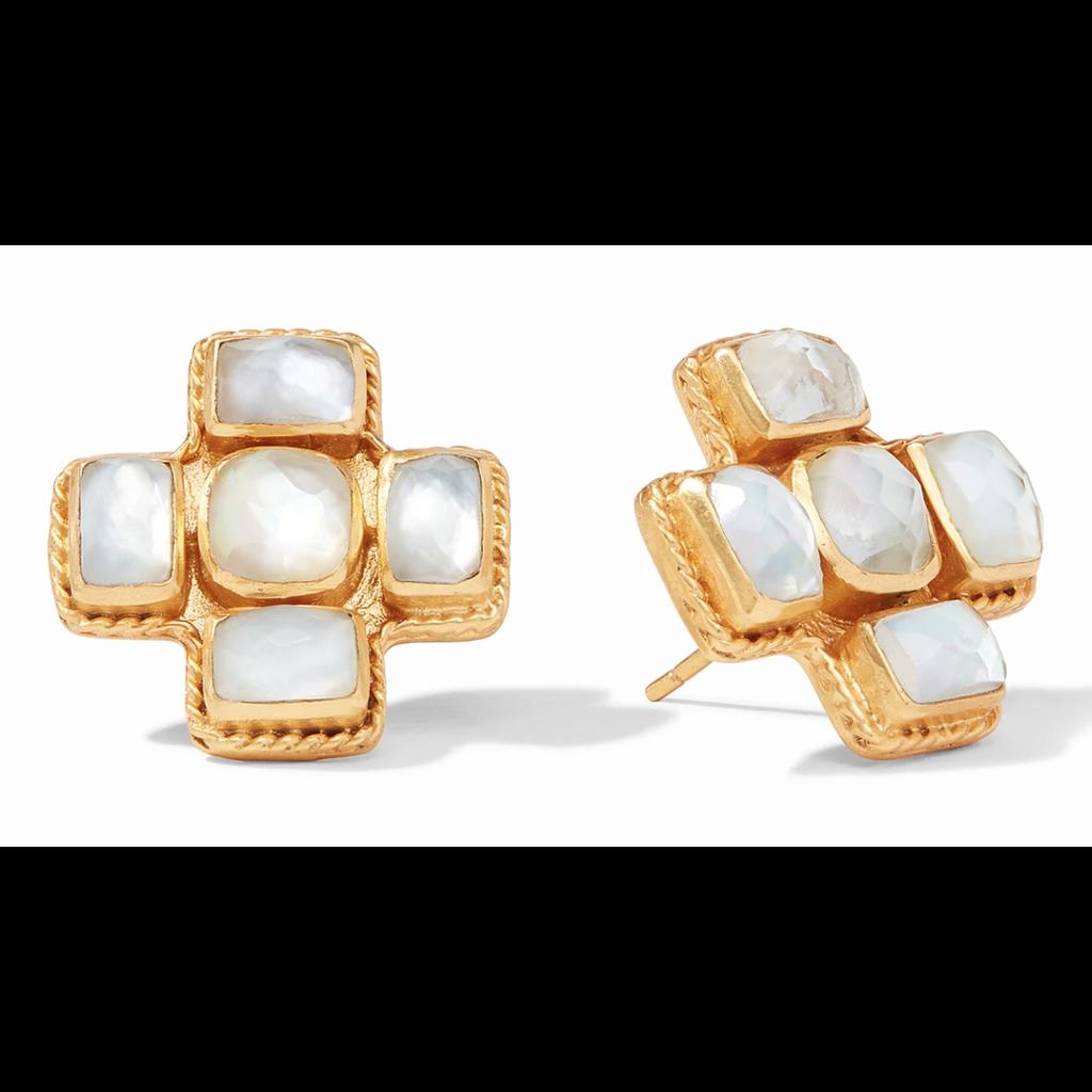 Julie Vos Julie Vos Savoy Earring Gold Iridescent Clear Crystal
